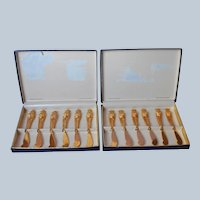 Gold Cocktail Cheese Pate Spreader Knives Vintage 12 Original Boxes Hors D'Oeuvres