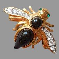 Joan Rivers Insect Bee Pin Small Black Rhinestones Green Eyes