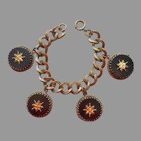 ca 1940 Bracelet Victorian Revival Black Glass Large Charms A Bit TLC