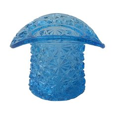 Hat Vase Daisy and Button Blue Pressed Glass Vintage 5 Inch