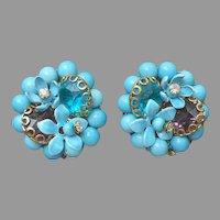 Wired Beads Flowers Filigree Rhinestones Earrings Vintage Clip Turquoise Blue