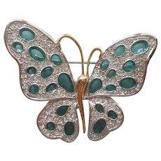 Nolan Miller Plique A Jour Enamel Butterfly Pin Teal Rhinestone
