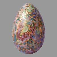 Cloisonne Champleve Enamel Egg 7 Inches Vintage