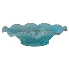Antique Opalescent Glass Bowl Aqua Blue Ribbed Spiral Model Flint ca 1900