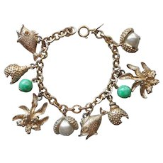 1964 Sarah Coventry Sea Charms Bracelet Vintage Green Glass Gold Tone