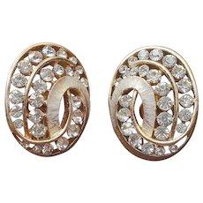 Crown Trifari Earrings Clip Vintage Gold Tone Rhinestones Oval
