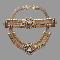 Big Mesh Rhinestone Medallion Necklace Bracelet Set Vintage Antiqued Gold Tone