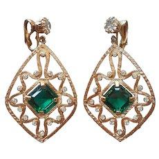Kramer Huge Dangle Earrings Clip Vintage Emerald Green Glass Stones