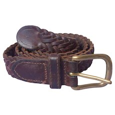 Leather Belt Braided Vintage 1990s Size 31 Brass Buckle