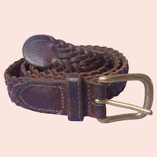 Leather Belt Braided Vintage 1990s Size 31 Brass Buckle