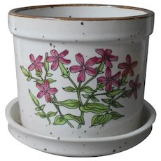 1970s Japan Flower Pot Small Planter Vintage Speckled Stoneware Drain Hole Saucer