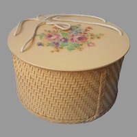 Sewing Basket Vintage Princess Brand Wicker Wood Golden Yellow Flowers