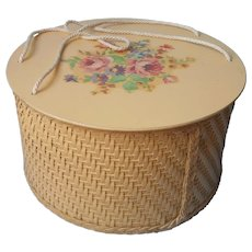Sewing Basket Vintage Princess Brand Wicker Wood Golden Yellow Flowers