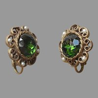 Deep Green Glass Stones Faux Seed Pearls Clip Earrings Vintage