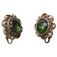 Deep Green Glass Stones Faux Seed Pearls Clip Earrings Vintage