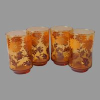 Libbey Amber Daisies Juice Glasses Glass Set 4 Vintage 1970s Ombre Brown