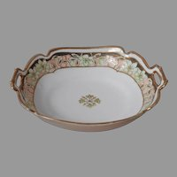 Nippon Relish Bowl Porcelain Green Peach Gold Hand Painted Noritake