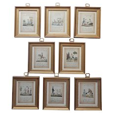 Grammar Set Of 8 Framed Prints Paths Of Learning Small Wood Glass Vintage