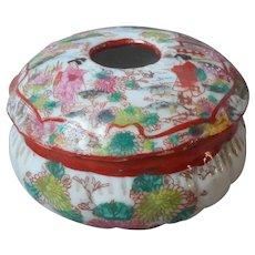 Geisha Ware Antique Small Porcelain Hair Receiver Vanity Box Hand Painted TLC