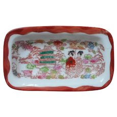 Geisha Ware Antique Small Porcelain Hairpin Dish Vanity Hand Painted