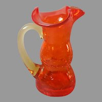 Mid Century Crackle Glass Mini Pitcher Miniature Orange Yellow Vintage
