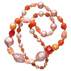 All Glass Beads Necklace Orange Peach Vintage 1950s