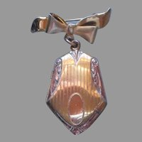 1940s Locket On Bow Pin Vintage Pink Yellow Gold Plated A Bit TLC