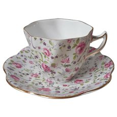 Rosina Pink Purple Chintz English Bone China Cup Saucer Vintage