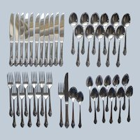 Together 1956 Silver Plated Flatware Set 49 Pieces Dinner Forks Knives Soup Spoons Teaspoons