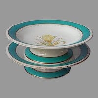Pair Mid Victorian Dessert Stands Compotes Porcelain Antique Aqua Green Bands
