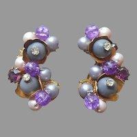 Wired Beads Filigree Rhinestone Earrings Purple Clip