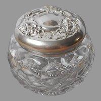 Art Nouveau Lady Silver Plated Lid Vanity Jar Antique Pressed Glass
