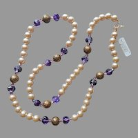 1980s Carolee Necklace Purple Glass Faux Pearls Beads Vintage Original Tag