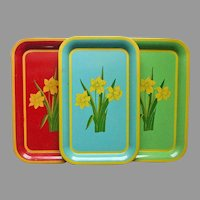 Set 3 Vintage Metal Trays Daffodils 14 x 9 Red Blue Green