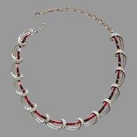 Kramer Red Baguette Rhinestones Necklace Vintage Choker A Bit TLC