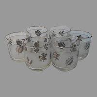 Libbey Silver Foliage 6 Old Fashioned Glasses Rocks Vintage Barware Leaves