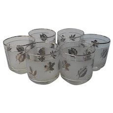 Libbey Silver Foliage 6 Old Fashioned Glasses Rocks Vintage Barware Leaves
