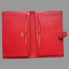 Leathersmith Of London England Red Morocco Leather Passport Travel Wallet Folder