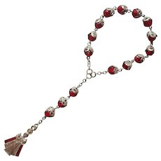 Chaplet Infant Of Prague Enamel Red Glass Beads Filigree Caps Vintage