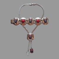 Selro Red Black Silver Tone Bracelet Slide Necklace Vintage TLC