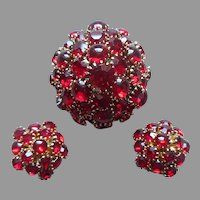 Rich Red Glass Clusters Pin Clip Earrings Vintage Cabochon and Faceted