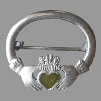 Irish Hallmarked Sterling Silver Small Claddagh Pin Green Stone