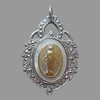 Sterling Silver Marcasite Mother Of Pearl Miraculous Medal Pendant Vintage