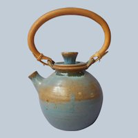 1981 Studio Pottery Teapot Stoneware Signed Blue Hand Made Vintage Rattan Handle