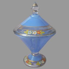 1920s to 1930s Glass Candy Jar Dish Lid Enameled Flowers Blue Westmoreland Vintage
