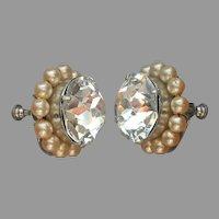 Big Rhinestone Centers Screw Back Earrings Faux Pearls Vintage 1940s