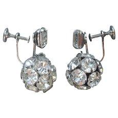Weiss Rhinestone Ball Drop Earrings Vintage Screw Back