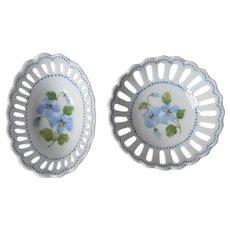 Andrea By Sadek Miniature Reticulated Bowls Vintage Porcelain Blue Violets