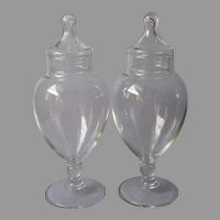 Pair Vanity Apothecary Jars Vintage Glass Pedestal Footed Terrarium