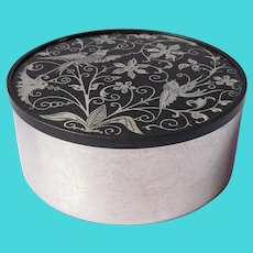 Silver Inlay Powder Trinket Box Oneida Silver Plated Black Vintage